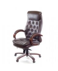 Купить недорого Деревянное кресло руководителя - Кресло ЛАЦИО • ЕХ MB кожа коричневый в Украине